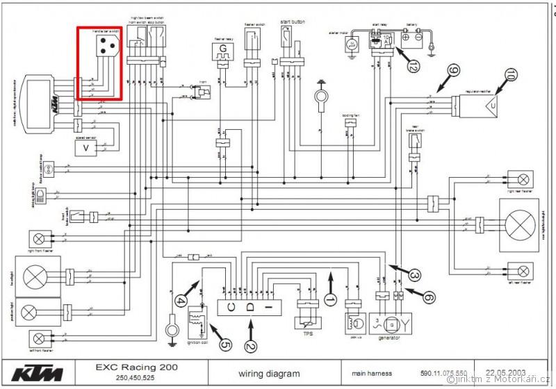 Schema El  Zapojeni Svetel U Ktm 525 Exc    Motork U00e1 U0159sk U00e9